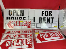 Lot Of 12 Open House And For Rent Signs Variety Pack With Wire Stands