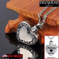 Engraved Personalized Heart in Heart Cremation Jewelry Keepsake Urn Ash Necklace