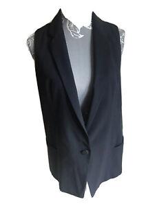 Zara Womens Waistcoat Size S (8-10) Navy Blue Formal Work Sheer Back Collared