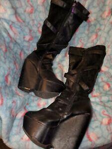 Womens Pu Bow Over Knee Thigh Boots Concealed Hidden Heel Wedge Heel Collegiate