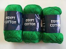 LOT of 3 Feza Egypt Cotton Green 100% Mercerized Cotton Laceweight Yarn