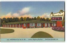 Baton Rouge, LA - Shamrock Motel, US Hwy 61-65 & 190 - Roadside Linen Postcard