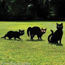 3x Black Metal Scare Cats Pest Control Scarer Repeller Cat Deterrant Black Cat