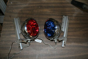 Police passing lamps w/ mounts 1985 FXRP blue red Police FXR Sheriff EPS23811