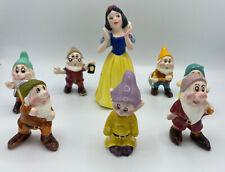 Disney Snow White And Seven Dwarfes Ceramic Figurine Japan RARE Set