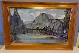 "Vintage Half Dome Mountain Yosemite Chalk Art Painting Framed 32""x22"""
