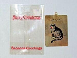 Vintage Kilban Christmas Ornament Thin Metal Love A Cat. Kiss on Face