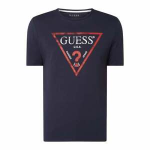 Guess T-Shirt USA Washed Jeans Triangle Logo Slim Fit - Dark Blue - L