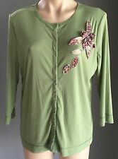 Gorgeous Sage Green Jewelled VERGE Net Long Sleeve Stretch Cardigan Size 14-16