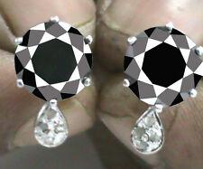 4.28. ct Black Real Moissanite & Natural Raw White Diamond .925 Silver Earrings