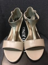 David Jones Taupe Leather with Gold T Bar Wedge Sandals Size Au 9 RRP $89.95 NWT