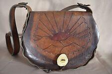 Vintage Brown Leather Flower Tooled Boho Hippy Hippie Shoulder Bag Handbag Tote