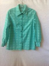 Women's Vintage Polyester Blouse Mint Green with Clear Buttons Long Sleeve