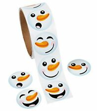 1 Roll Happy Snowman Face Stickers 100 Stickers Christmas Party Favor