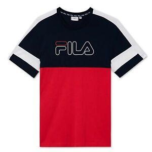 Maglia Uomo FILA Jadon Blocked T-shirt Blu Rosso Casual Sportiva Tempo Libero