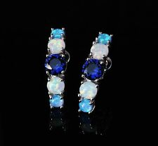 **SPECIAL** Silver/Rhodium Plated BLUE/WHITE FIRE OPAL/ TOPAZ STUD EARRINGS