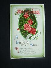 Good Luck, Birthday Wish, Flowers, Greeting Postcard.  1925