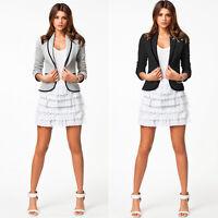 Plus Size S-6XL Women Lady Button Career Loose Blazer Suit Jacket Coat Outwear