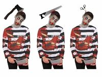 HALLOWEEN ZOMBIE CONVICT SCARY COSTUME Kids Prisoner Child Fancy Dress Outfit UK