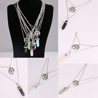 Natural Quartz Crystal Stone Point Chakra Healing Gemstone Pendant Necklace Hot