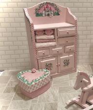 PINK STORAGE BOX Hand-Painted Dollhouse Miniature 1:12 Nursery Furniture