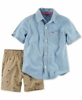 New Carter's Chambray Shirt Top & Khaki Dino Print Shorts Set NWT 2T 3T 4T 5T