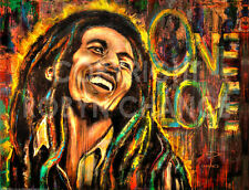 """Art Print from Original Painting """" One Love """" (Bob Marley) by Robyn Chance"""