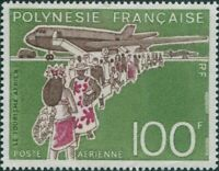French Polynesia 1974 Sc#C114,SG196 100f Boeing 707 Airliner MNG