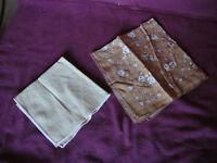 Lot of 2 Vintage Woman's Handkerchiefs Hankies Brown Roses Light Beige