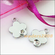 6 New Star Flower Charms Crystal Dull Silver Pendants Craft DIY 12.5x15.5mm