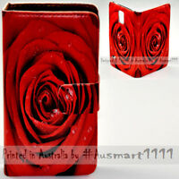 For Sony Xperia Series - Red Rose Theme Print Wallet Mobile Phone Case  Cover
