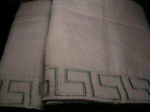 HOTEL FIRENGE KING SHAM PAIR WHITE WITH SURF SPRAY GREEK KEY EMBROIDERING NWT