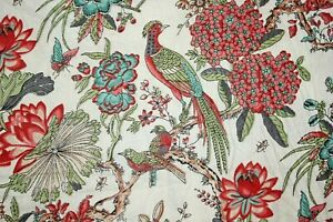 Floral Birds 100% Cotton Indian Hand Block Print Dress Material Craft Fabric