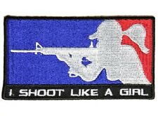 "(M) I SHOOT LIKE A GIRL 4"" x 2.25"" iron on patch (4534D) Lady Biker Vest Gun"