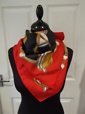 Beautiful Vintage Scarf Red/Black/Gold/White/Brown Saddle/Chain/Equestrian Print