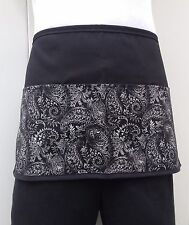 Black Paisley server waitress waist apron 3 pocket restaurant Classyaprons