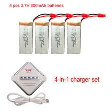 4Pcs 3.7V 800mAh Battery+JST 4in1 Charger For JJRC V686 H12C F181 RC Quadcopter