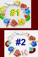 SOFTBALL BASEBALL Bracelet Sport Bat Base Glove Mother Girlfriend School Jewelry