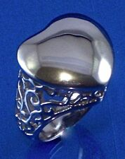 STAINLESS STEEL HIGH POLISHED HEART FILIGREE RING, SIZES-5,6,7