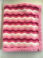 "Just Born Soft Pink White Chevron Fleece Security Lovey Baby Blanket 39 X 30"""