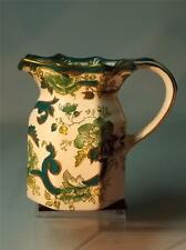 "Masons MILK JUG Chartreuse Pattern 4.75"" - 12cm High Green & Gold Hydra Handle"