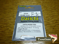 25 X Daiichi 2220 #8 Long Streamer Hooks for Wet Flies & Nymphs - Fly Tying