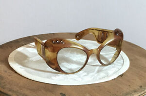 50er Alte Zelluloid Kunststoff  Brille Vintage Retro Dachbodenfund DDR Design