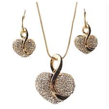 Loco Feng Moda Nuevo Amarillo Chapado en oro Juego de joyas cadena arete collar