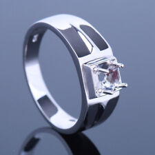 Solid 14K White Gold Solitaire Men's Jewelry Wedding Ring 4.5-5.25mm Round Cut