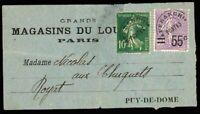 France #236+#136 Receipt (Pre Cancelled) EUR220.00 Louvre Museum