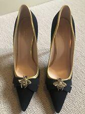 Authentic Gucci Black Suede Bee Stilettos Heels 6 39
