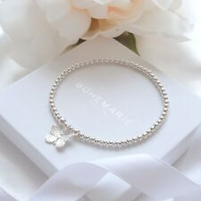 dainty beaded stacking jewellery Sterling silver butterfly charm bracelet,