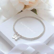 Sterling silver butterfly charm bracelet, dainty beaded stacking jewellery
