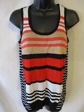 Peter Som Rayon Casual Sleeveless Size S Black Stripe Sweater Tank Top SR$50 NEW